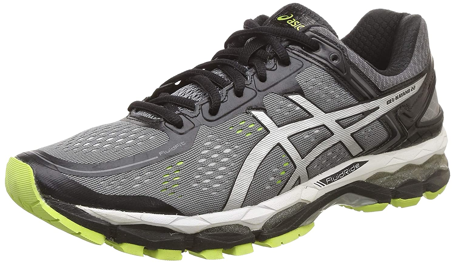 ASICS Men's Gel Kayano 22 Charcoal, Silver And Lime Mesh