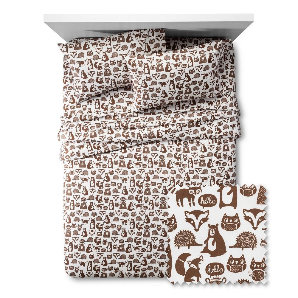 Pillowfort Forest Friends Animal Pattern 4 Piece Sheet Set Full - Brown /white/