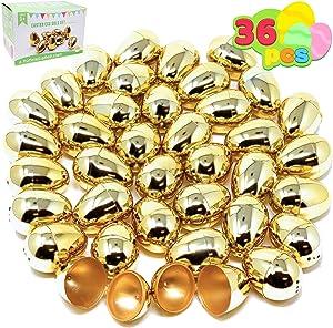 JOYIN 36 Pieces Shiny Golden Metallic Easter Eggs 2 3/8