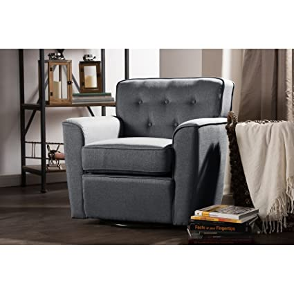 Wholesale Interiors Canberra Retro Fabric Upholstered Button Tufted Swivel  Glider Lounge Chair With Arms,