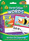 SCHOOL ZONE - Three-Letter Words, Write-On Learning, Interactive Flash Cards, Preschool and Kindergarten, Ages 3 through 6, Early Reading, Includes Dry Erase Marker