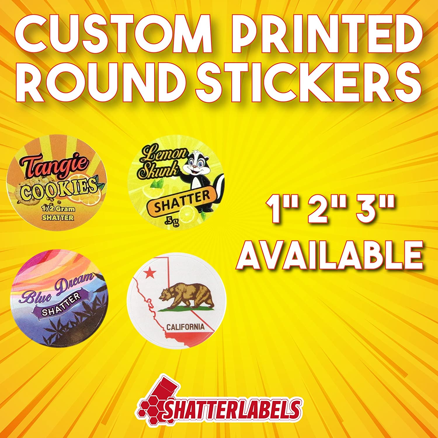 Amazon com 1 000 custom shatter labels round circle stickers with your logo strain 2 and 3 available 1 office products