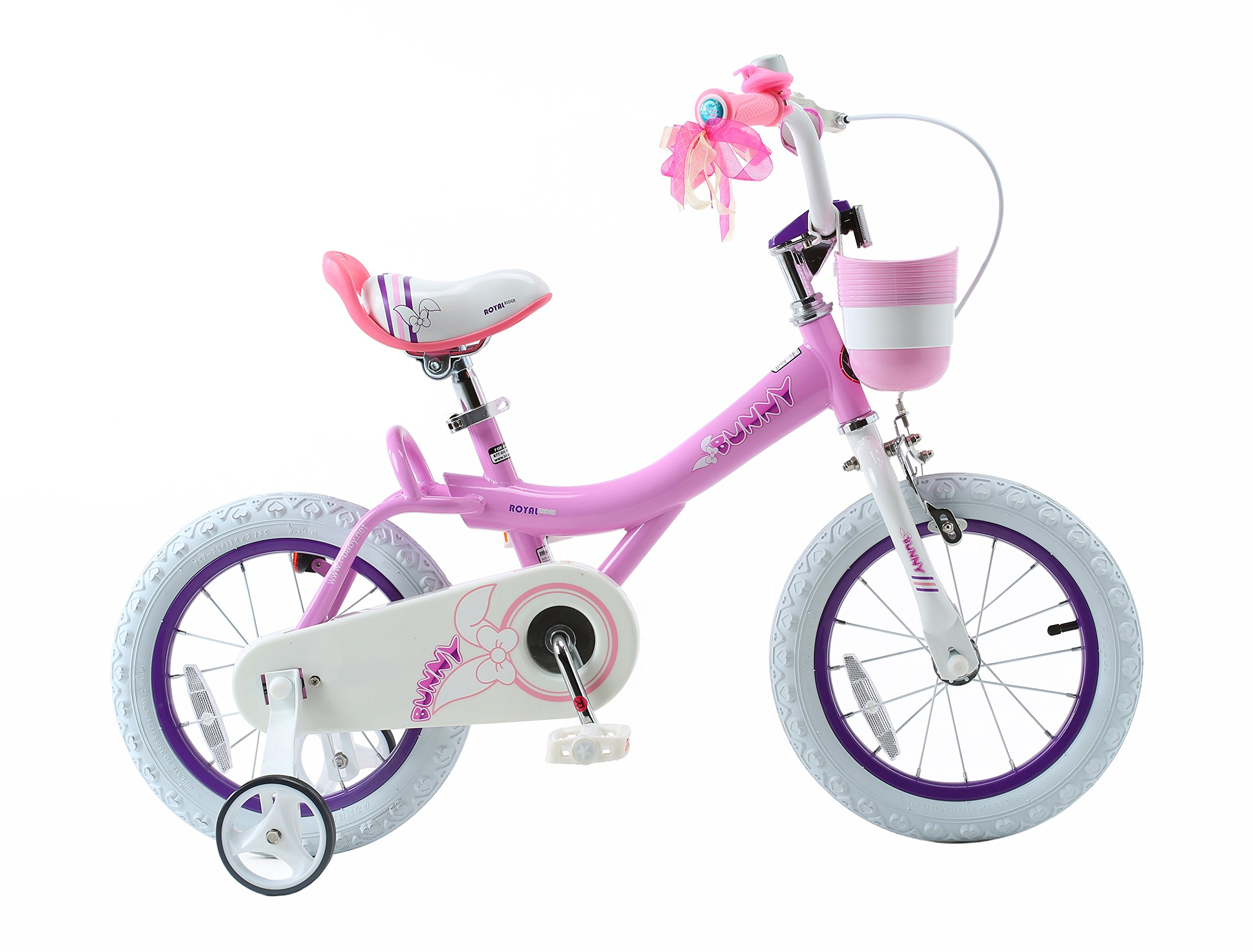 Royalbaby Bunny Girl's Bike, 14 inch wheels with basket and training wheels training wheels, gifts for kids, girls' bicycles, Pink by Royalbaby