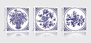 Wall Decorations for Bedroom Blue and White Porcelain Style Canvas Wall Art Navy Floral Bird Bathroom Pictures Wall Decor Framed Wall Art for Kitchen Dining Room 3 Pieces Modern Decor Size 14x14