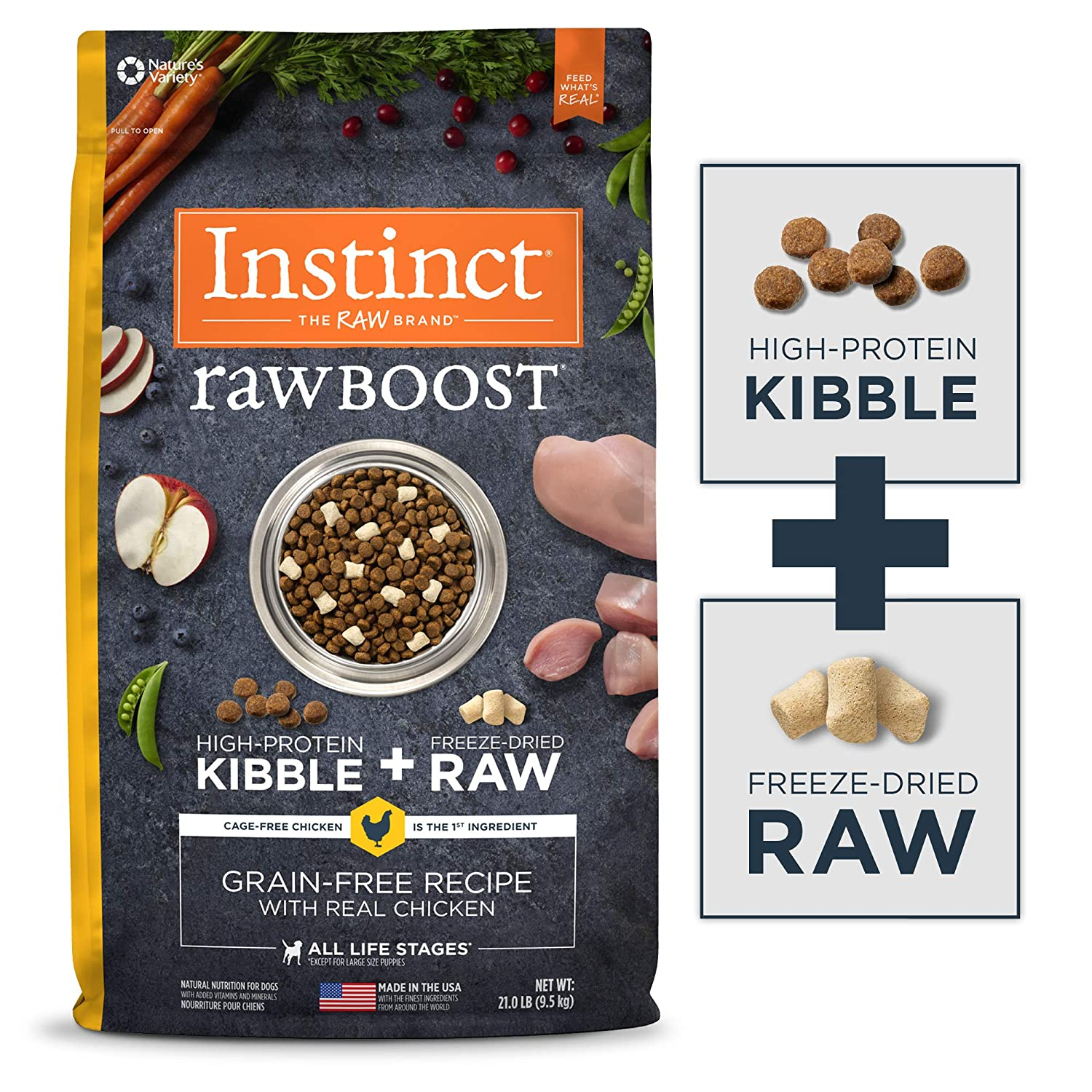 3.Instinct by Nature's Variety Raw Boost Grain-Free Dry Dog Food