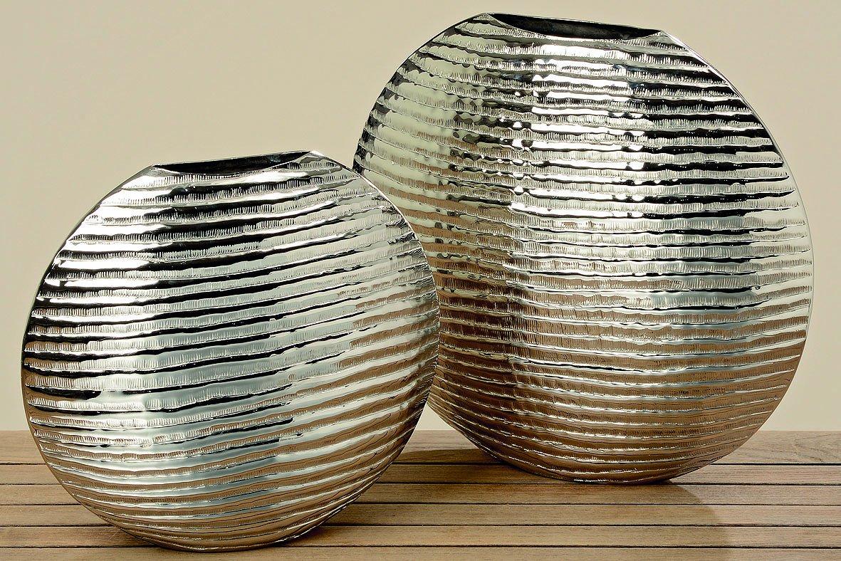 Deko Vase Pebble Blumenvase Tischvase Bodenvase Dekoration Aluminium silber dekorative Objekt Geschenk (Höhe 46cm)