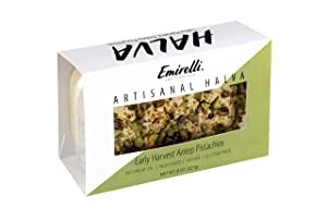 Emirelli Artisanal Halva Dessert – Authentic Middle Eastern Candy Turkish Sweets – Vegan Candy 55%-Tahini Halwa - Halvah Traditional International Sweets - Harvest Antep Pistachios Flavor, Pack of 1