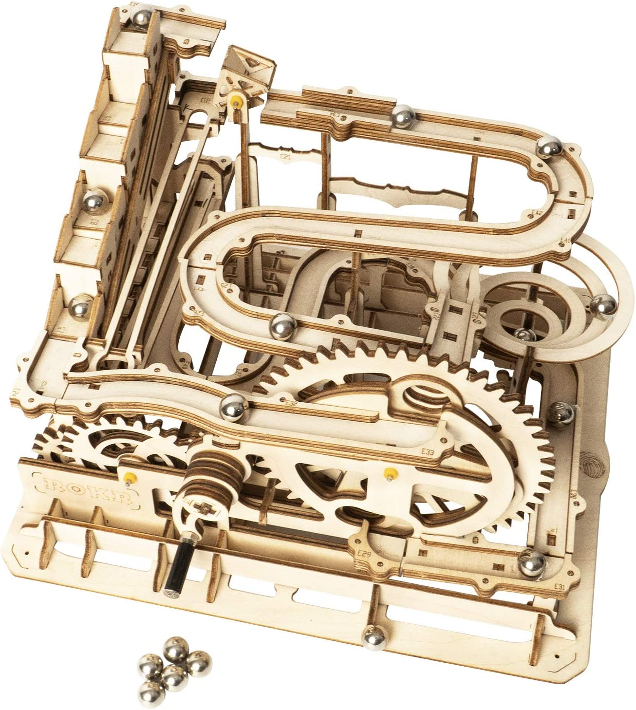 Amazon Com Rokr Marble Run Wooden Model Kits 3d Puzzle Mechanical Puzzles For Teens And Adults Waterwheel Coaster Toys Games