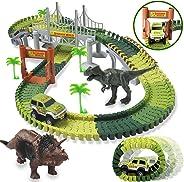HOMOFY Dinosaur Toys 142pcs Slot Car Race Flexible Tracks 2 Dinosaurs,Create A Road Toys for 3 4 5 6 Year Old Boys Girls Tod