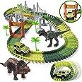 HOMOFY Dinosaur Toys 142pcs Slot Car Race Flexible Tracks 2 Dinosaurs,Create A Road Toys for 3 4 5 6 Year Old Boys Girls Todd