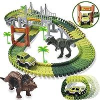 HOMOFY Dinosaur Toys 142pcs Slot Car Race Flexible Tracks 2 Dinosaurs,Create A Road...