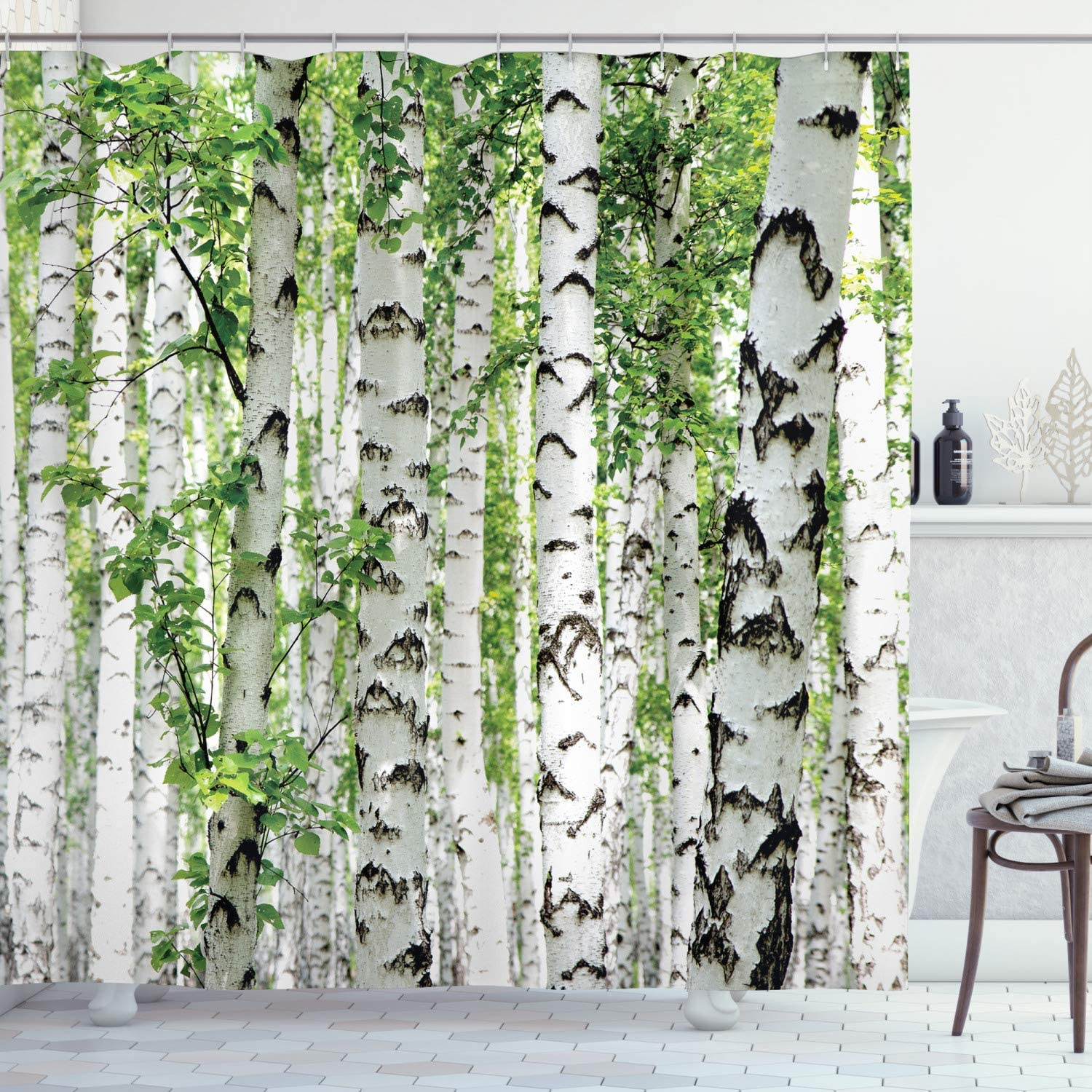 "Ambesonne Woodland Shower Curtain, Birch Trees in The Forest Summertime Wildlife Nature Outdoors Themed Picture, Cloth Fabric Bathroom Decor Set with Hooks, 70"" Long, White Green"