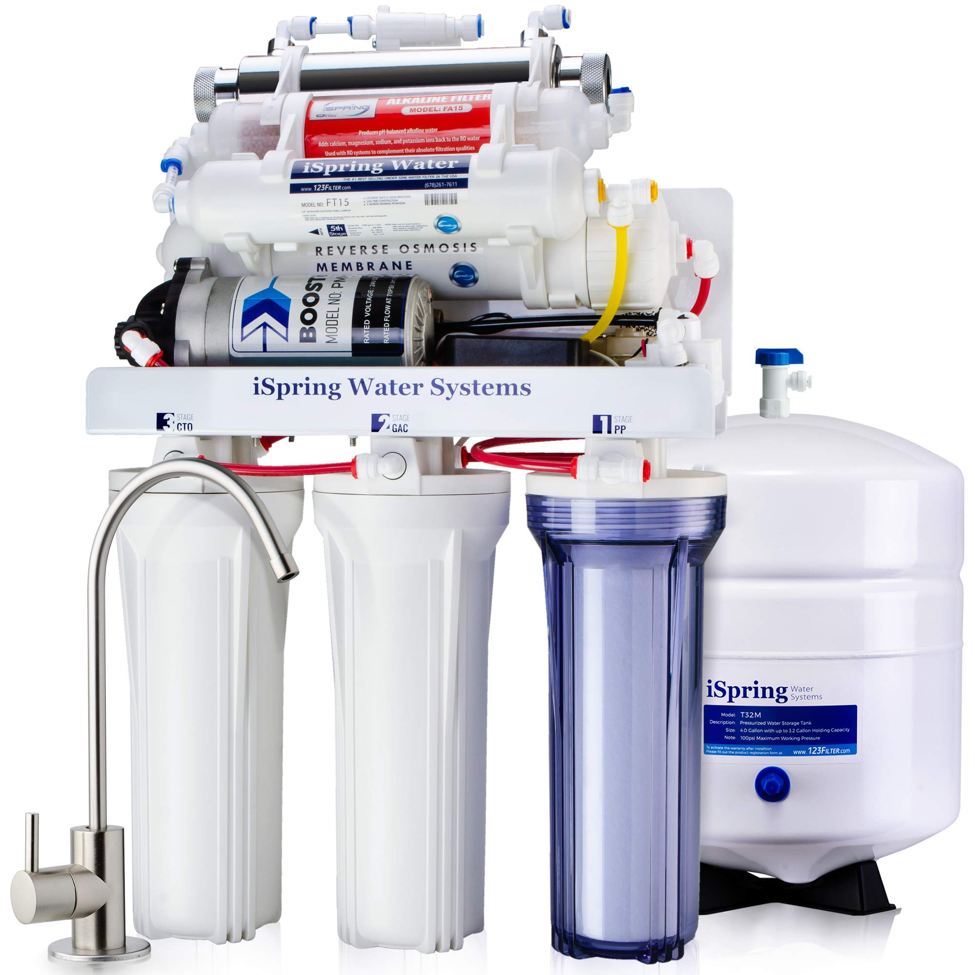 iSpring RCC1UP-AK 7 Stage 100 GPD Maximum Performance UnderSink Reverse Osmosis Drinking Water Filtration System With Booster Pump, Alkaline Ph+ Remineralization Filter And UV Sterilizer, White by iSpring