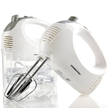 Ovente 5-Speed Ultra Power Hand Mixer, 200-Watts, Includes 2 Chrome Beaters and a FREE Snap-On Storage Case, Beater Eject Button HM151W