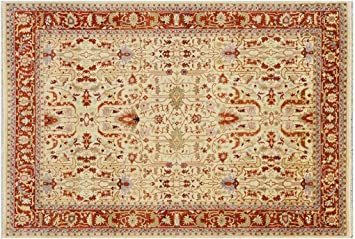 Amazon Com Ivory Rust Red 10x14 Transitional Serapi Rug All Over