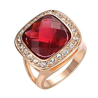 Amazon Com Yoursfs Ruby Rings 18k Rose Gold Plated Square Red Stone