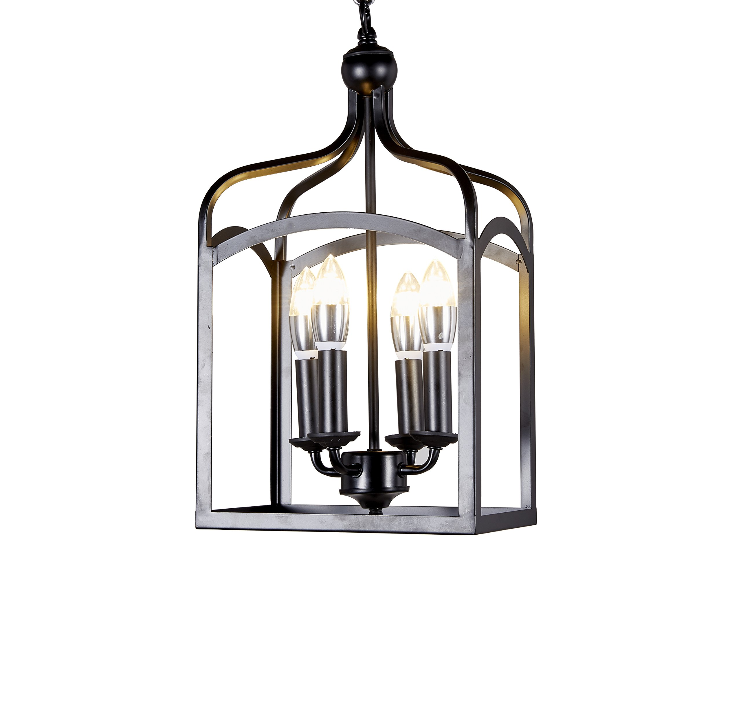 "New Galaxy Lighting Antique Black Finish 4-Light Hanging Lantern Iron Frame Pedant Chandelier - Antique Style Hanging Pedant Ceiling Fixture Fixture:10""Wx7""Dx21""H, Chain: 27"" long, Total height: 24""to 48"" adjustable; Ceiling cover: 5.5""Wx1.5""H Requires four(4) E12 candelabra base bulbs (not included) up to 40 watts each - kitchen-dining-room-decor, kitchen-dining-room, chandeliers-lighting - 81J3zhE5scL -"