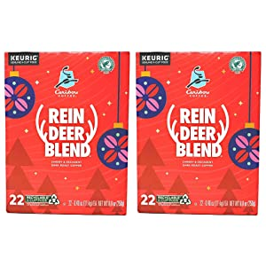 Caribou Coffee Reindeer Blend Coffee K Cups - Pack of 2 Boxes - 44 K Cups Total - 22 K Cups Per Box - Bulk Caribou Reindeer Blend Coffee - For Use in Keurig Coffee Makers