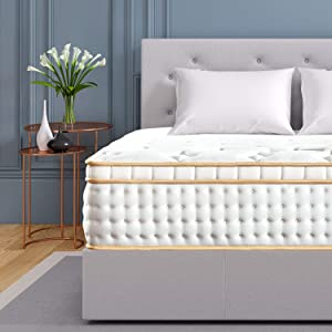 BedStory 12 inch Full XL Mattress, Gel Infused Memory Foam Mattress with Pocket Coil and Euro Top Bed Mattress