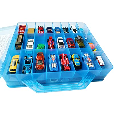 HOME4 Double Sided BPA Free Toy Storage Container - Compatible with Hot Wheels, Mini Toys, Small Dolls - Toy Organizer Carrying Case - 48 Compartments (Blue): Toys & Games [5Bkhe1202655]