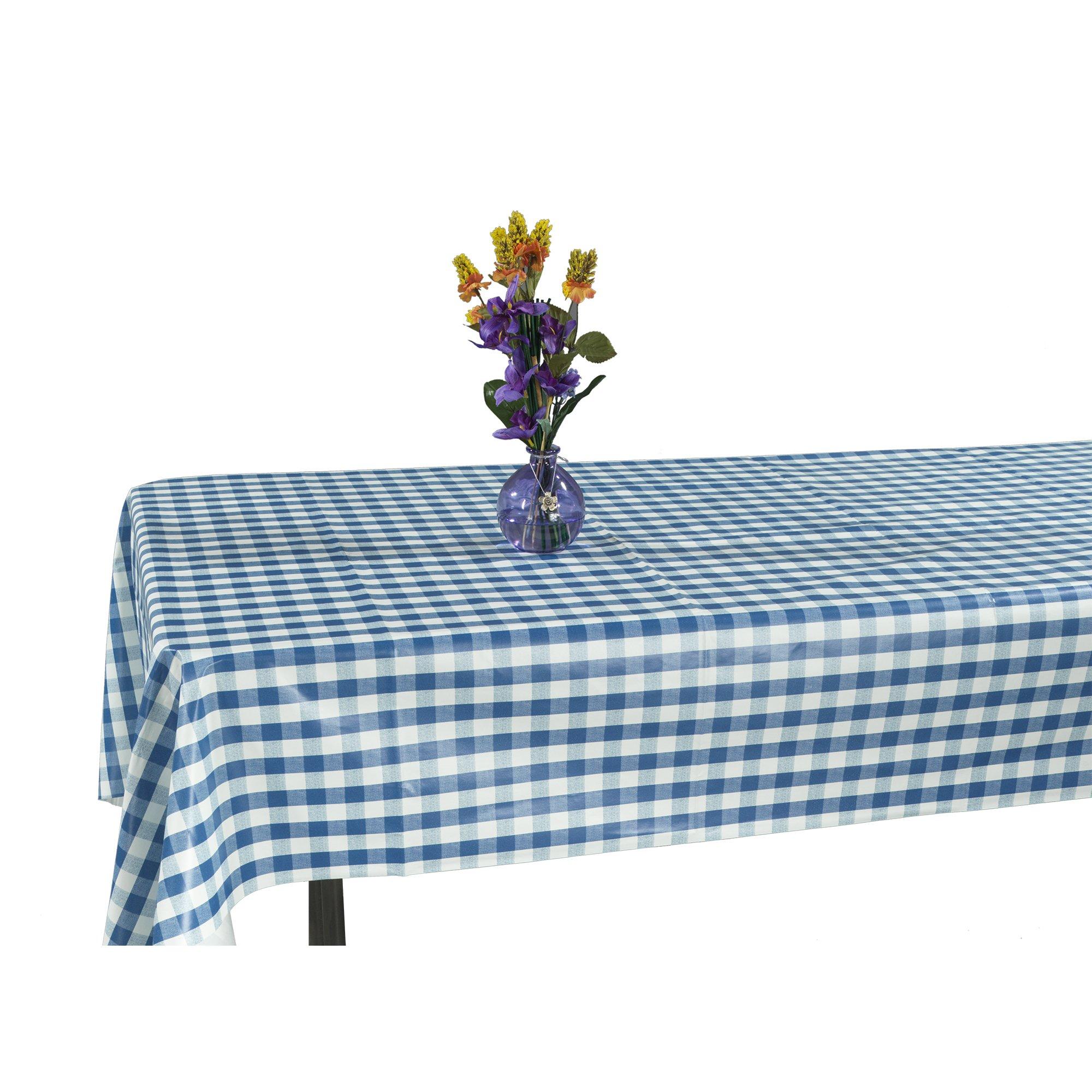 Ottomanson Vinyl Tablecloth Checkered Design Indoor & Outdoor Non-Woven Backing Tablecloth, 55'' X 102'', Blue