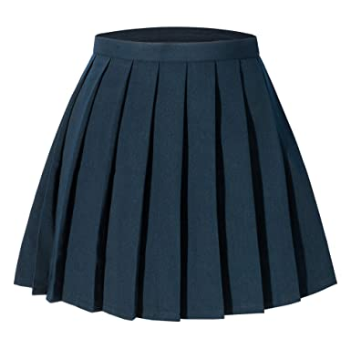 ae2309bba5 Tremour Women's School High Waist Pleated Skirts Solid Color Wear(S,Dark  Blue)