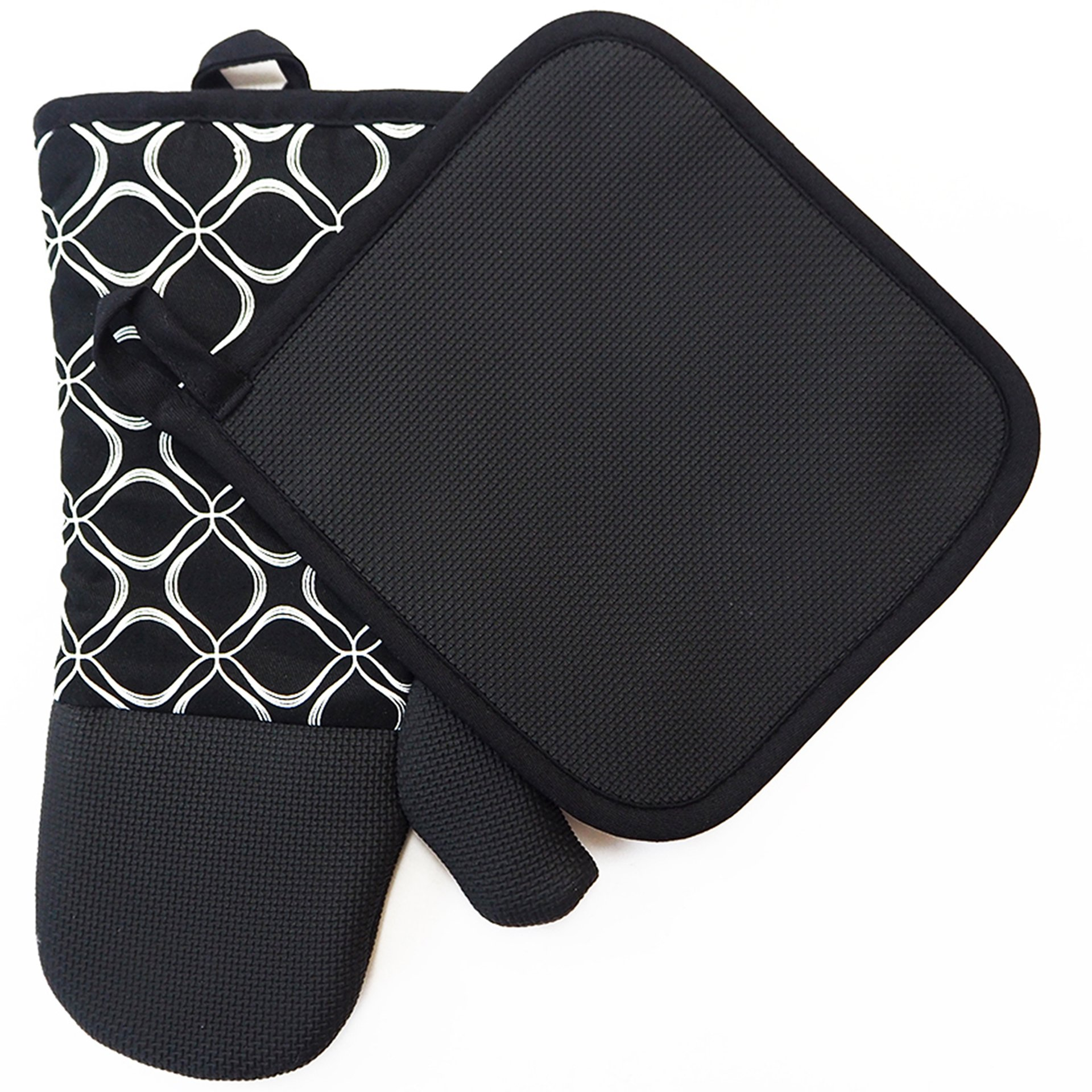 Shaped Oven Mitts and Pot Holders for Kitchen Set With Cotton Neoprene Silicone Non-Slip Grip,Heat Resistant, Set of 2 Oven Gloves for BBQ Cooking Baking, Grilling, Machine Washable (Black Neoprene)