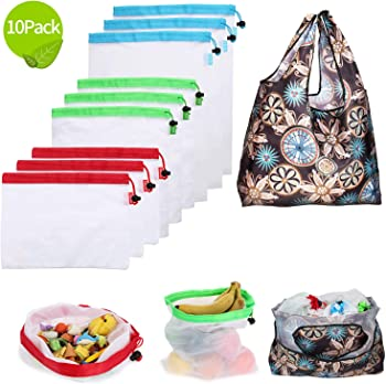 10-Pack E-House Eco Friendly Food Safe Reusable Produce Bags