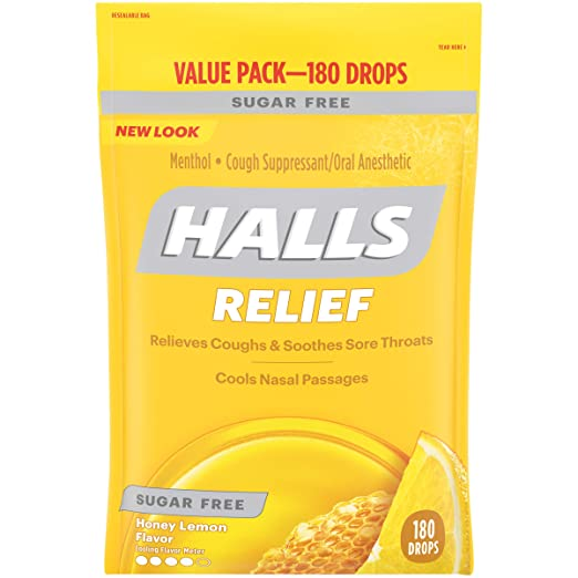 Halls Sugar Free Cough Suppressant, Honey-Lemon, 180-Drop Bag