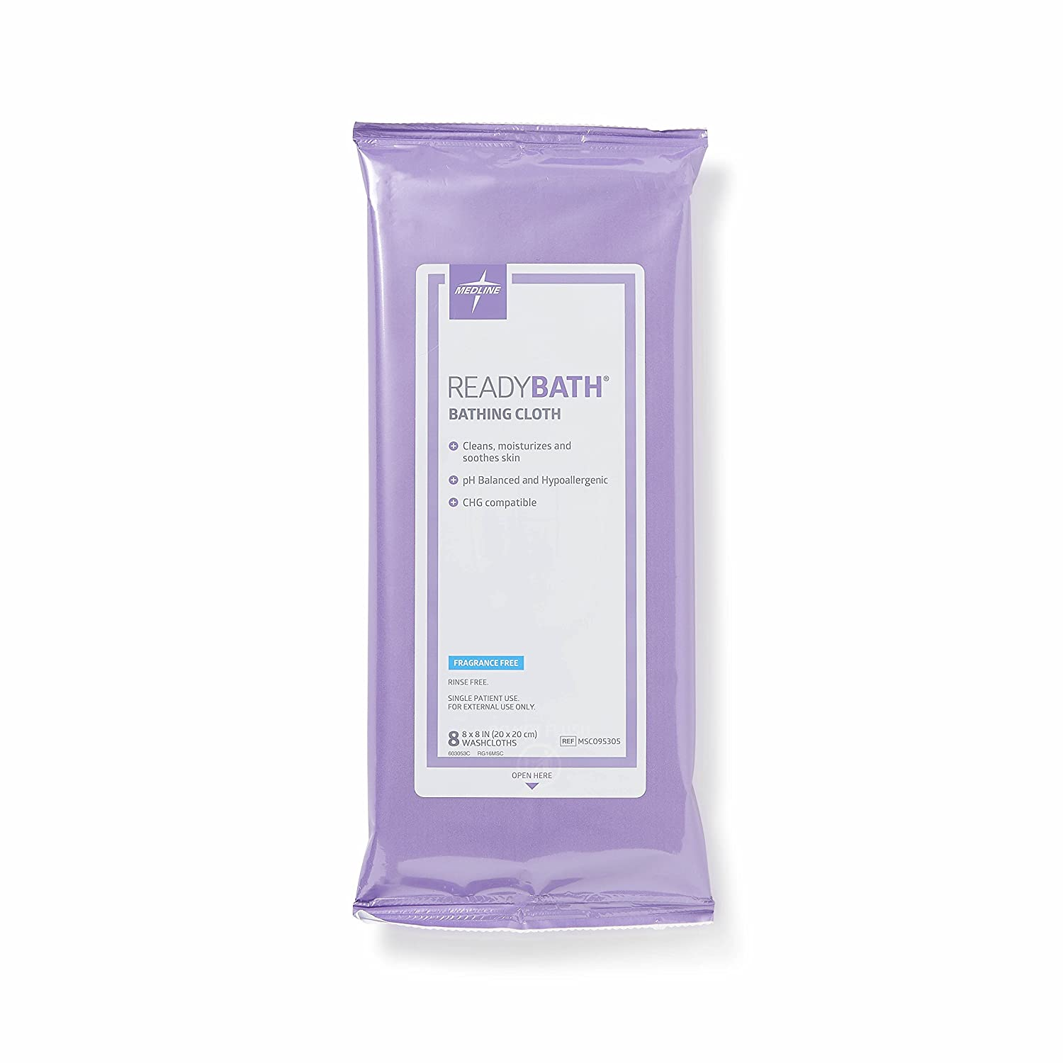 Medline ReadyBath Unscented Body Cleansing Cloths, Standard Weight Wipes (8 Count Pack, 30 Packs)