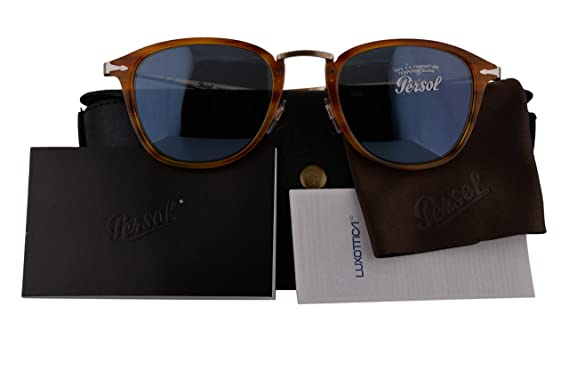 843bf6b8ad6 Persol Authentic Sunglasses PO3165S Calligrapher Edition Striped Brown  w Light Blue Lens 96056 PO 3165-S (50mm)  Amazon.co.uk  Clothing