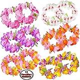 Hawaiian Headband Flowers | (12 PCS Set) Tropical Head Leis | Luau Floral Headpiece | Flower Headdress Lei, Multi Color | Summer Party Favors | By Anapoliz