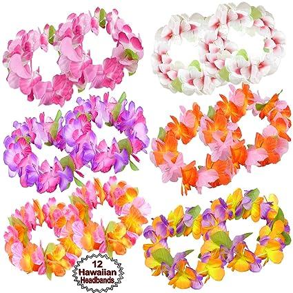 Blulu 18 Set Colorful Luau Hawaiian Flower Leis Bracelets Headband Tropical Silk Flower Lei Theme Party Favors Holiday Wedding Beach Birthday Decorations