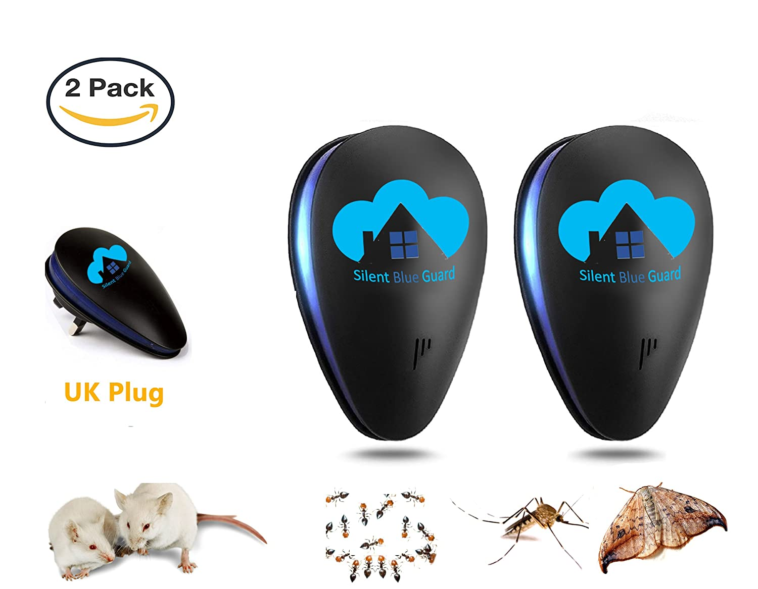 Silent Blue Guard Uk Ultrasonic Pest Repeller Controls Moths Mice Mosquito Repellent Circuitbest Repellentindoor Fleas Ants Insects 2 Pack Black Garden Outdoors