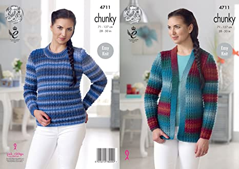 King Cole 4711 Knitting Pattern Womens Sweater And Cardigan In King