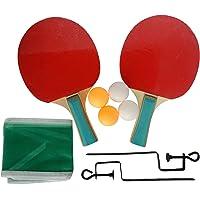 Set de Ping Pong con 2 raquetas, 4 pelotas y una red con soportes para ajustar a la mesa.