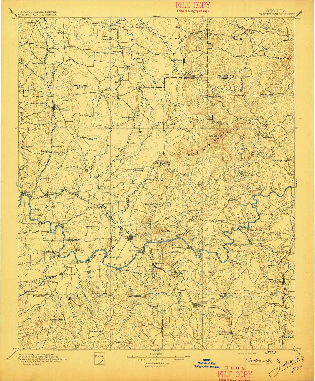 YellowMaps Cartersville GA topo map 30 X 30 Minute Historical 1:125000 Scale 20.1 x 16.5 in 1896