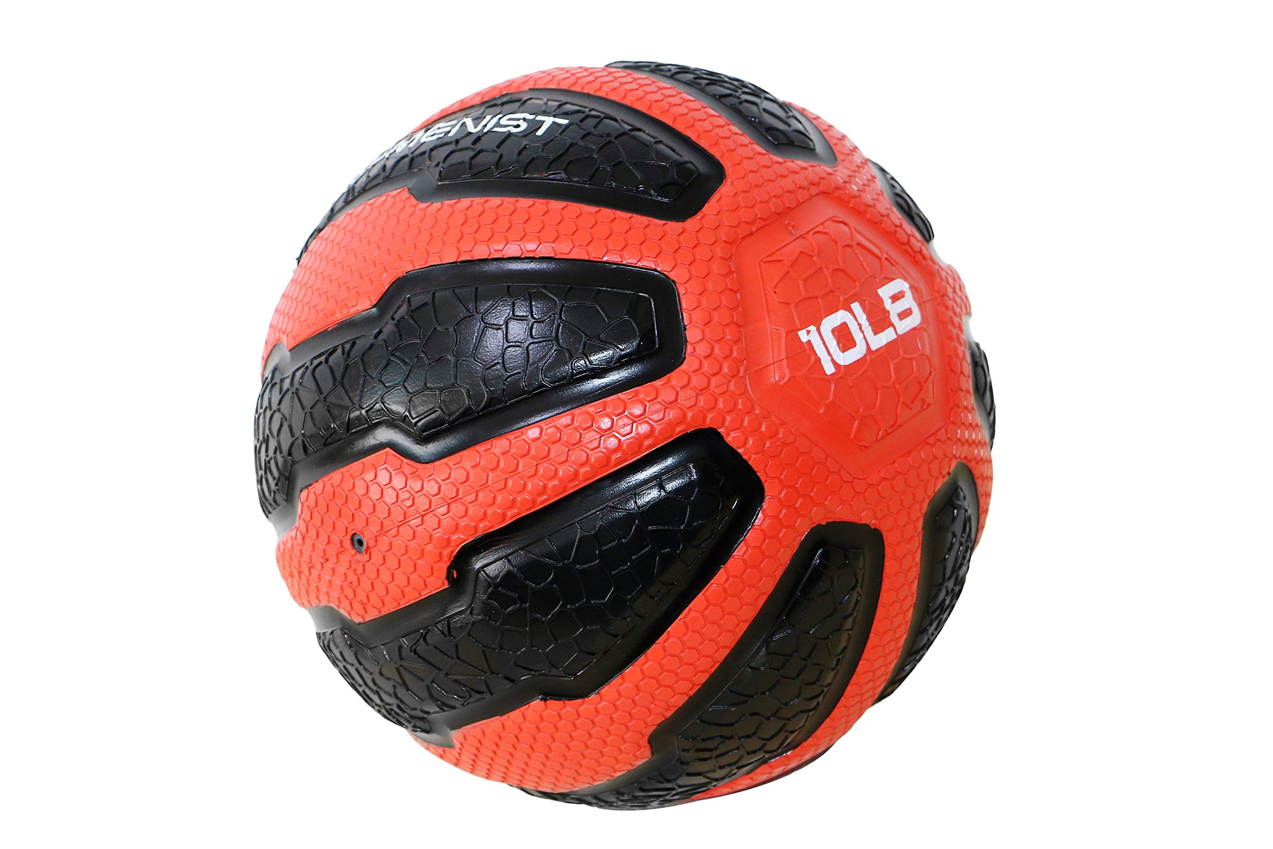 GYMENIST Rubber Medicine Ball with Textured Grip, Available in 9 Sizes, 2-20 LB, Weighted Fitness Balls,Improves Balance and Flexibility - Great for Gym, Workouts, (10 LB (Red- Black))