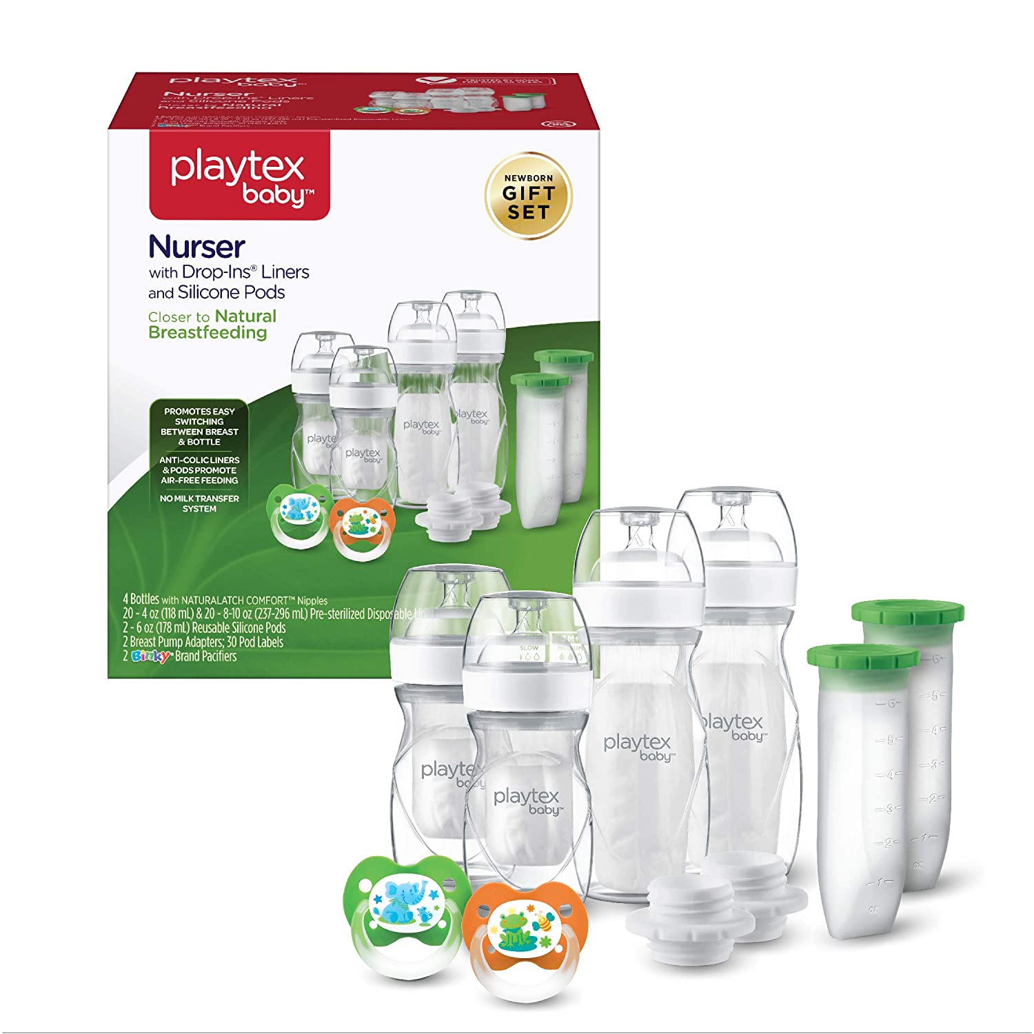 Playtex Baby Nurser Bottle Gift Set, with Pre-Sterilized Disposable Drop-Ins Liners and Silicone Pods, Closer to Breastfeeding