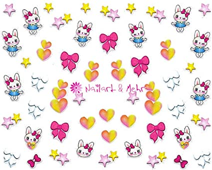 Barbacoa nail-Sticker, autoadhesivo #RS-282 diseño de conejo corazones y estrellas