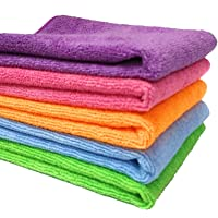 SOBBY Microfibre Cloth for Car Cleaning, Home and kitchen cleaning microfiber clothes pack of 5 pcs - 40 cm x 40 cm - Multi color