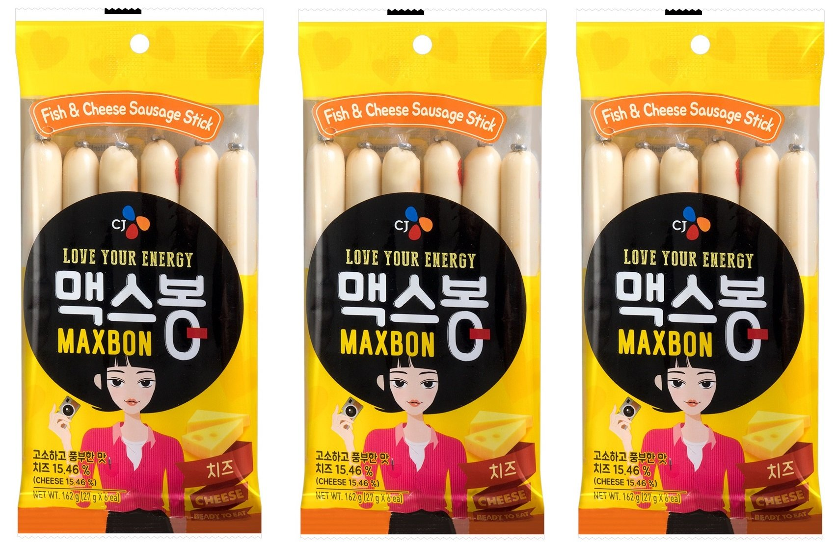 Korean CJ Maxbon Fish & Cheese Sausage Sticks (3 Pack)