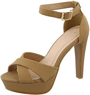 70427fb1bc0 Cambridge Select Women s Peep Toe Crisscross Buckled Ankle Strappy Chunky  Platform Tapered High Heel Sandal