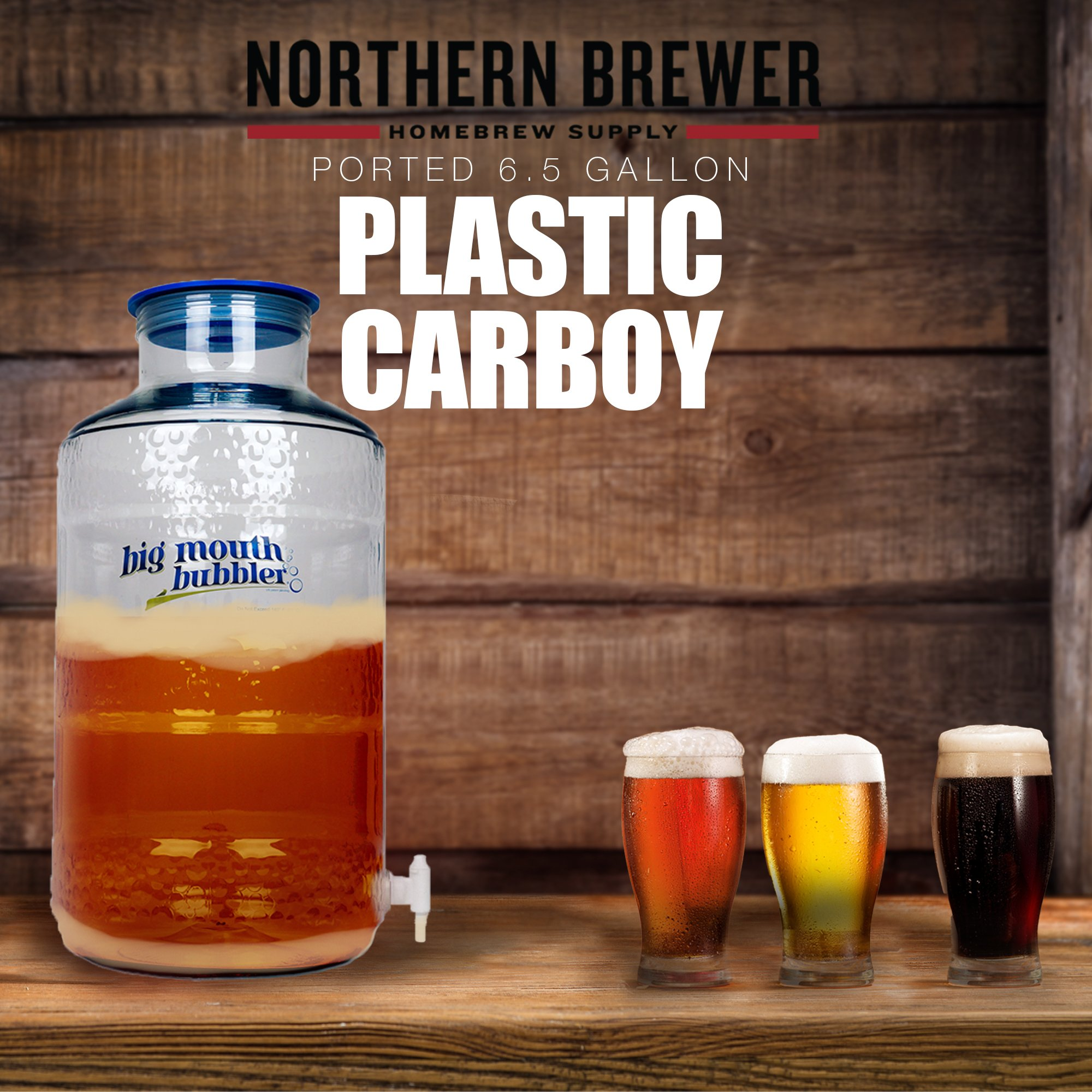 Northern Brewer - Big Mouth Bubbler PET Plastic Carboy Fermentor With Wide Mouth Universal Single Port Lid And Spigot For Fermentation Of Home Brewing And Wine Making (6.5 Gallon Ported) by Northern Brewer (Image #2)