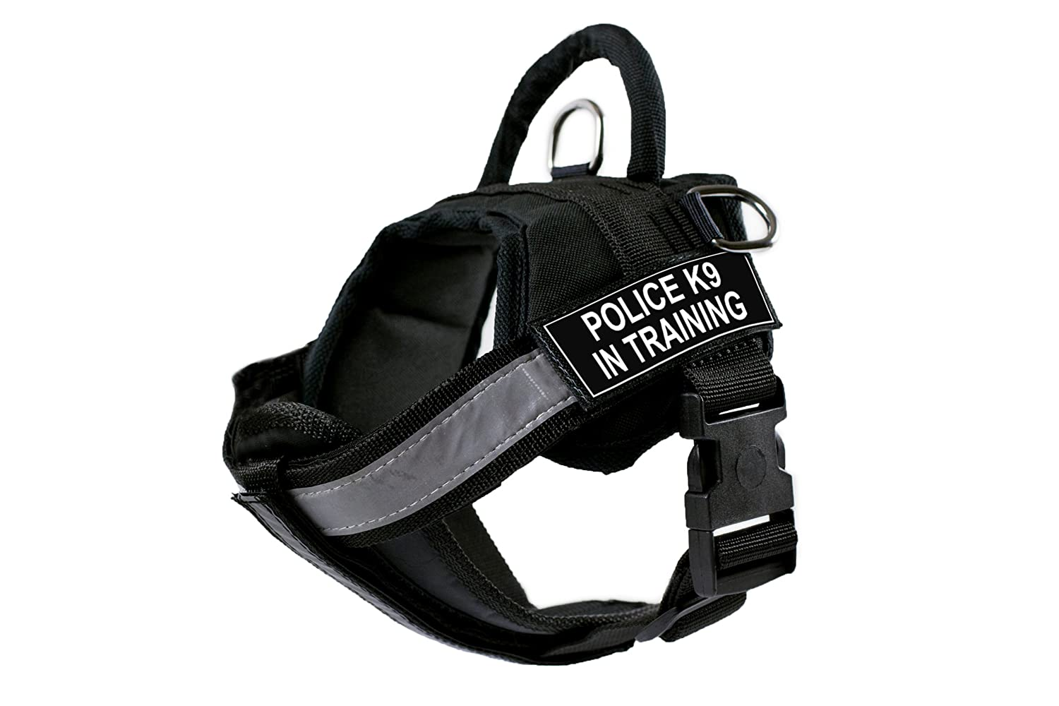DT Works Harness with Padded Reflective Chest Straps, Police K9 in Training, Black, X-Small, Fits Girth Size  21-Inch to 26-Inch