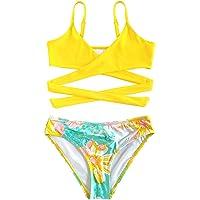 SHEKINI Meisjes 2-delige Bikiniset Crossover Spaghettibandjes Badkleding Bikinibroekje met Hoge Taille Zoete Bloemen…