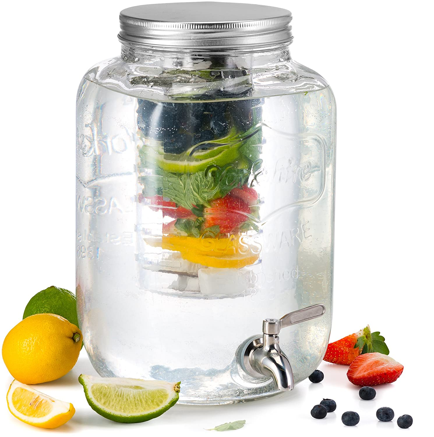 KooK Glass Drink Dispenser with Fruit & Ice Infuser and Stainless Steel Spigot, 2 Gallon 9060