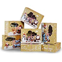 12 Pack Christmas Cookie Boxes Holiday Bakery Gift tins Kraft cupcake containers with window Christmas packaging for…