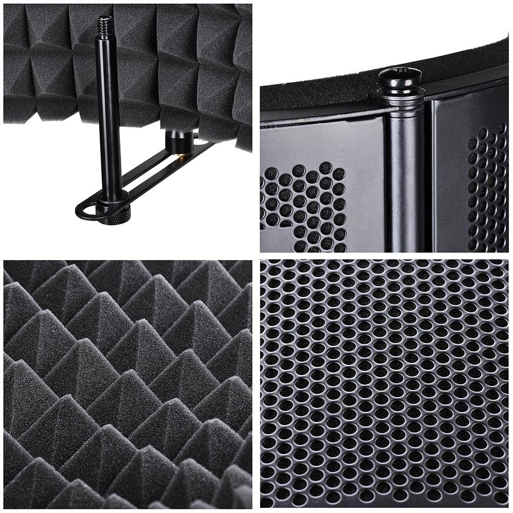 AW Studio Microphone Isolation Shield Acoustic Foam Panel Sound Absorbing Vocal Recording Panel Stand Mount by AW (Image #5)