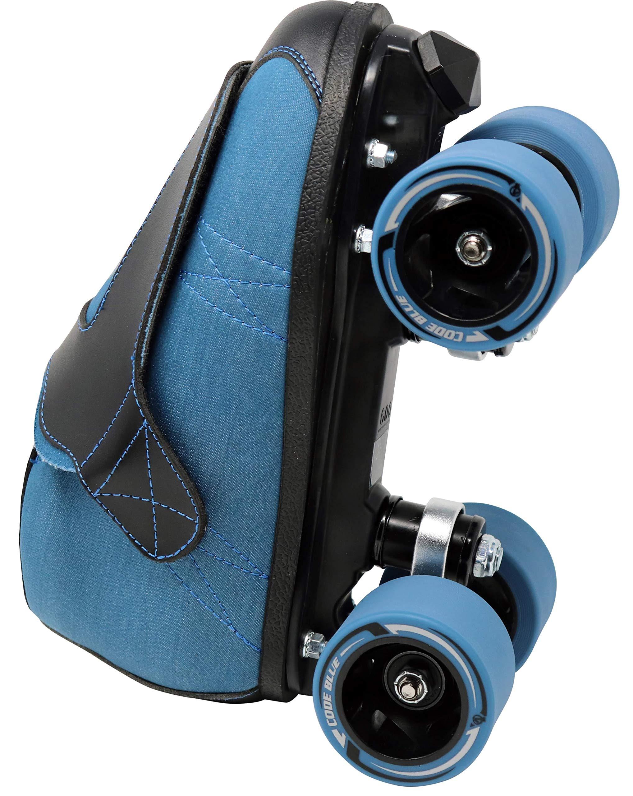 VNLA Code Blue Jam Skate - Mens & Womens Speed Skates - Quad Skates for Women & Men - Adjustable Roller Skate/Rollerskates - Outdoor & Indoor Adult Quad Skate - Kid/Kids Roller Skates (Size 3) by VNLA (Image #5)